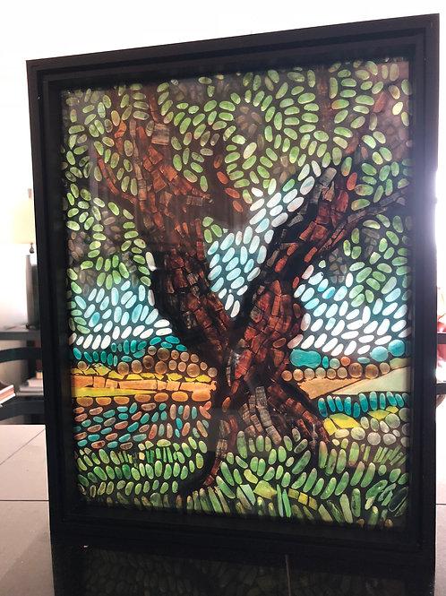 """Dancing Sunburst Locust"" print in black frame"