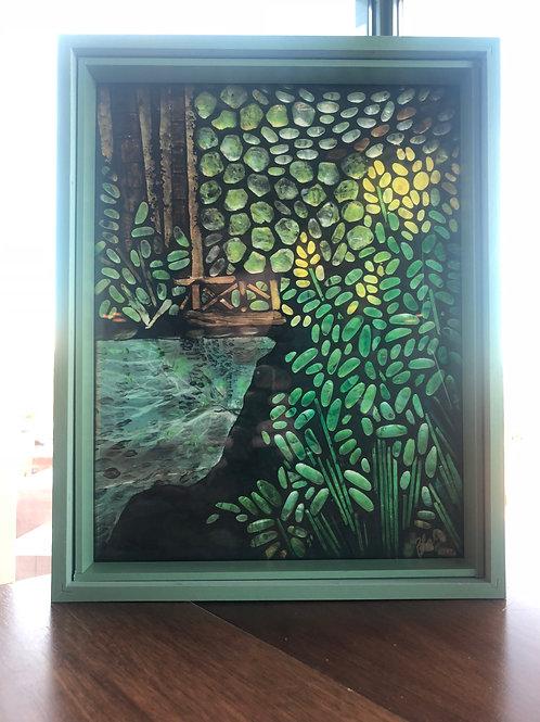 """The Bridge"" print in sage green frame"