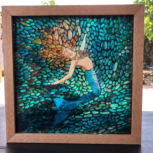 """Mermaid No. 1"" original mosaic light painting"