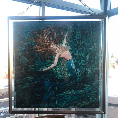 """""""Mermaid No. 1 """" print in silver metal frame"""