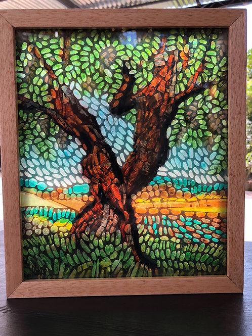 """""""Dancing Sunburst Locust"""" original mosaic light painting"""