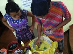 Students creating their mosaics