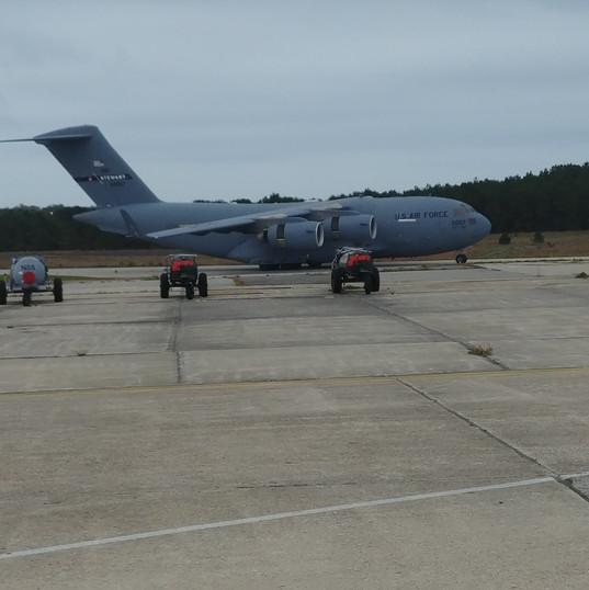 C-17 landing at Gabreski Air National Guard Base