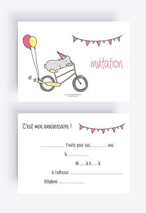 Invitation anniversaire ballon (par 5)