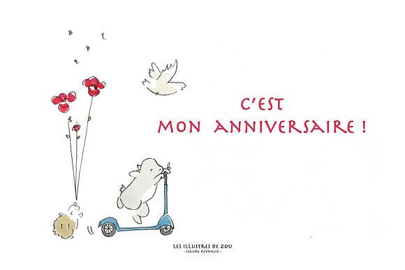 Invitation anniversaire coquelicot (par 5)