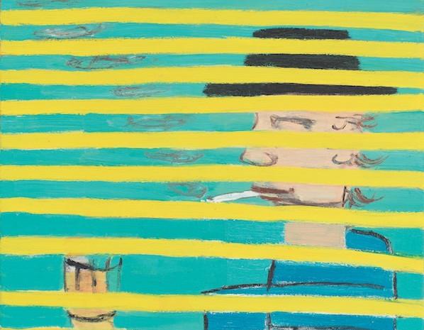 Raucher hinter Jalousie, Öl auf Leinwand, 50 x 50 cm, 2011