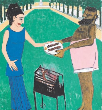 Hephaistos grillt für Pallas Athene im Tiergarten, Öl auf Leinwand, 200 x 145 cm, 2005