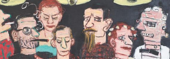 Zi vier Händen mit Frankenstein und seiner Geliebten, Öl auf Leinwand, 90 x 120 cm, 2014