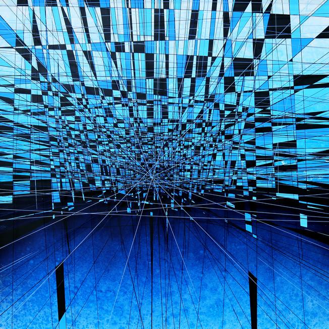 Cerulean suspended horizon-82 x 82 x 10c