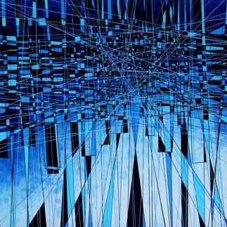 Superposed squares falls-83 x 83 x 10 cm