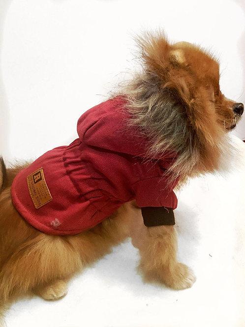 Куртка с мехом красная