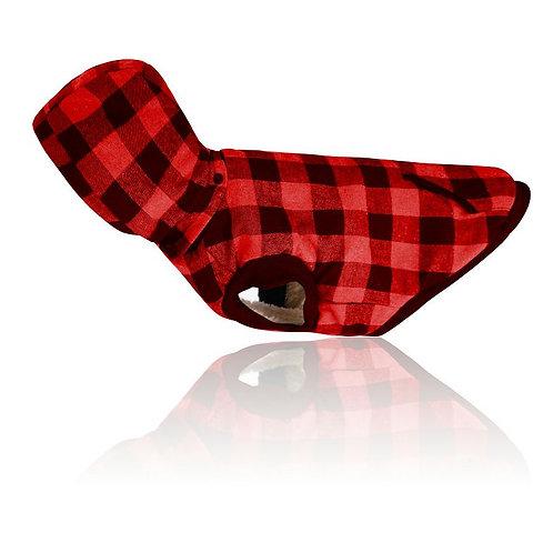 Жилетка в клетку с снимаемым капюшоном красная