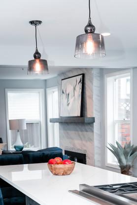 royal blue white modern kitchen remodel Amanda George Interior Design island