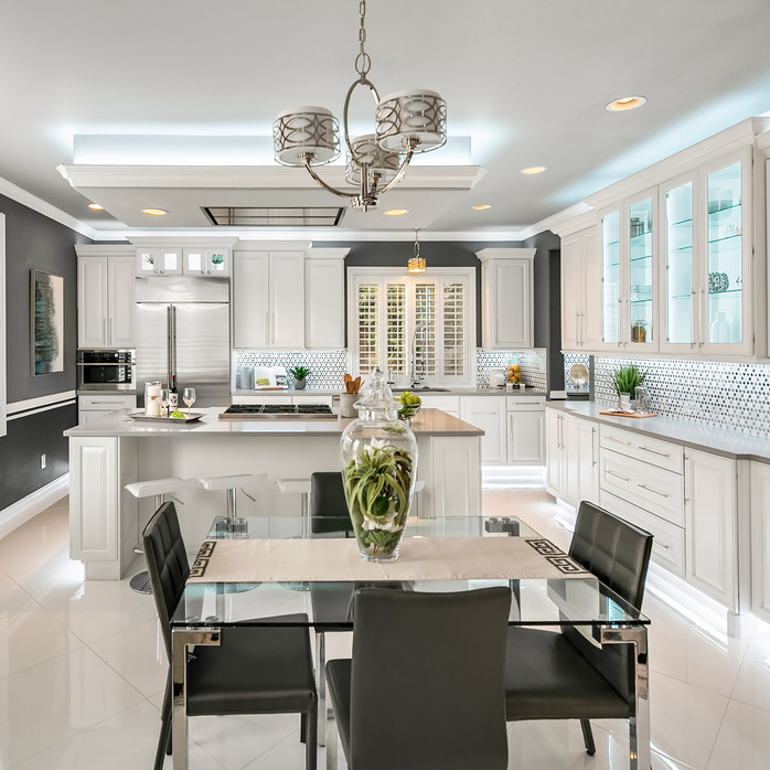modern grey and white kitchen remodel light and airy Amanda George Interior Design