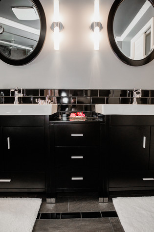 two sink bathroom mdoern black and white Amanda George Interior Design