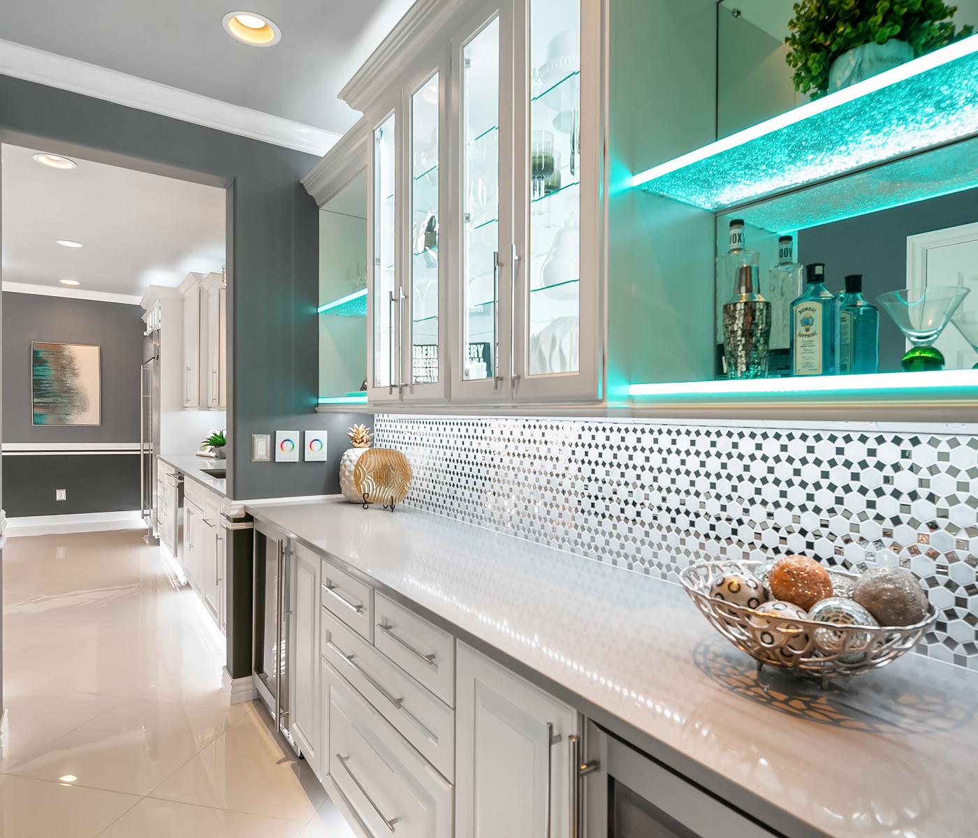 modern bar area with blue lights grey white Amanda George Interior Design