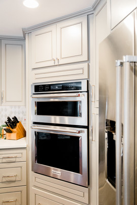 classic stunning kitchen remodel white and grey Amanda George Interior Design double oven