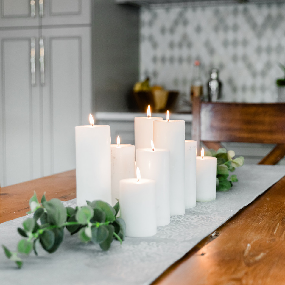 table runner with candle Amanda George Interior Design
