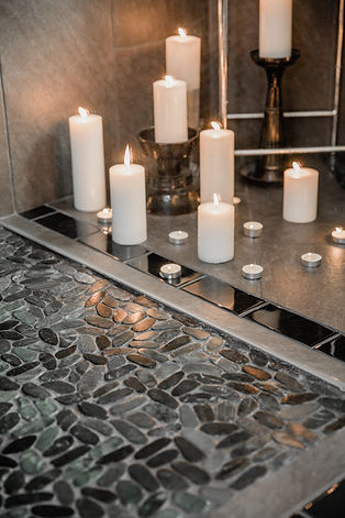 grey stone tile remodel candles Amanda George Interior Design