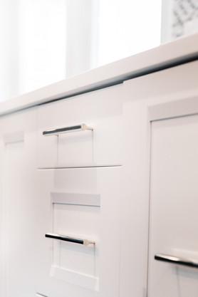 royal blue white modern kitchen remodel Amanda George Interior Design clean cabinetry