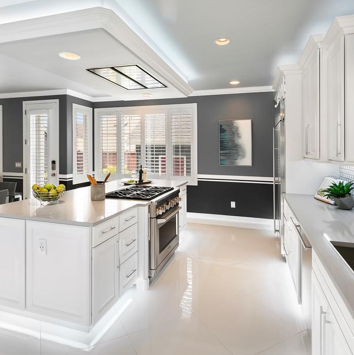 cusotm kitchen remodel grey and white Amanda George Interior Design