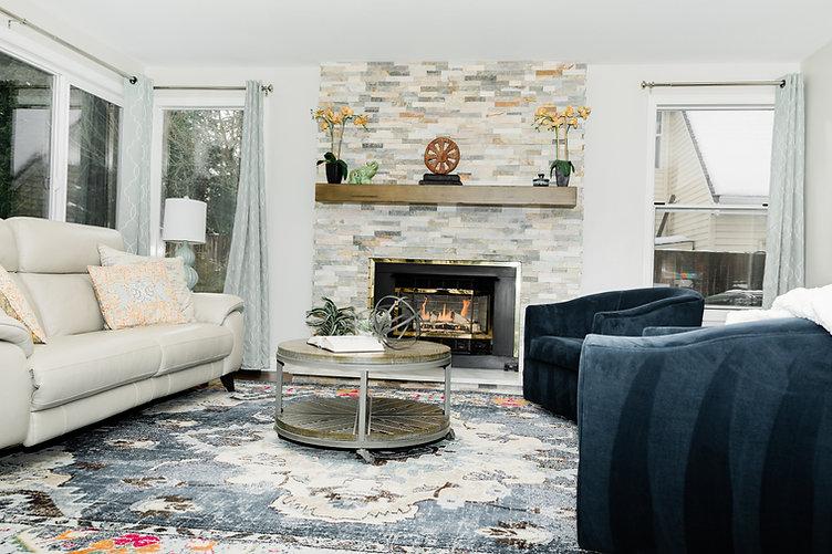 modern grey brick living space beige and blue Amanda George Interior Design