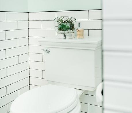 white tile pattern bathroom Amanda George Interior Design