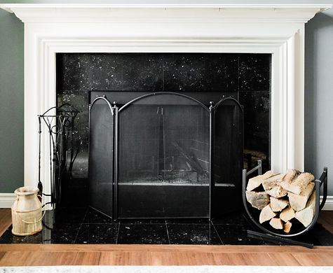 black and white custom fireplace Amanda George Interior Design