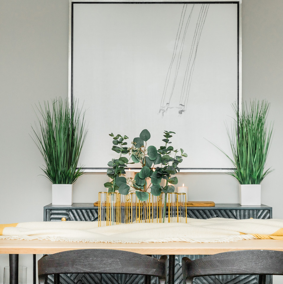 modern dining room black white yellow Amanda George Interior Design