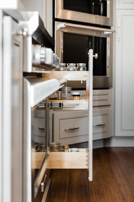 classic stunning kitchen remodel white and grey Amanda George Interior Design spice cabinet