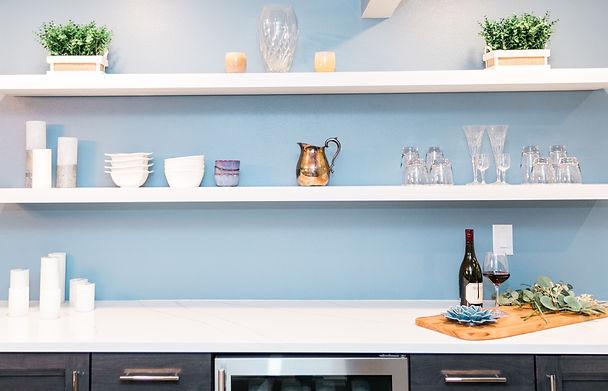 clean modern blue and white kitchen Amanda George Interior Design