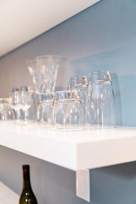 blue and white modern open shelves Amanda George Interior Design