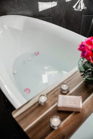 bathtub details rose petals Amanda George Interior Design