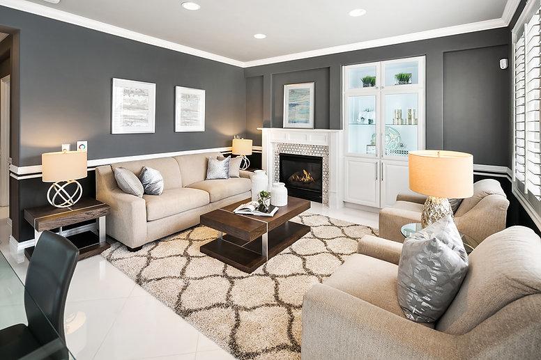 grey beige white living area Amanda George Interior Design