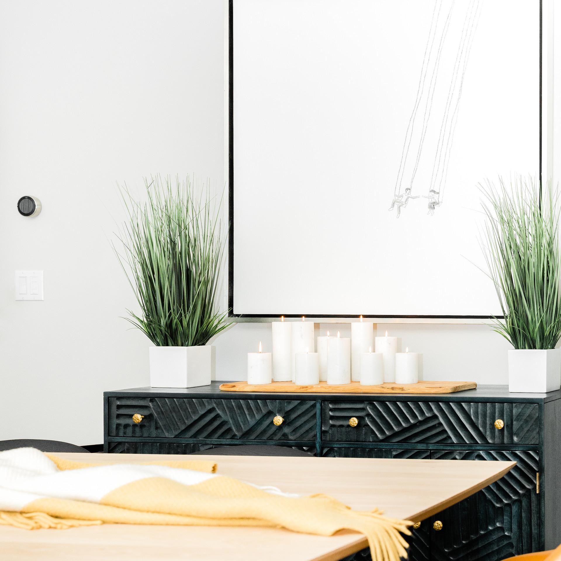 black cabinetry dining room remodel Amanda George Interior Design