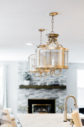 classic stunning kitchen remodel white and grey Amanda George Interior Design chandelier