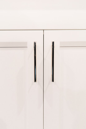 royal blue white modern kitchen remodel Amanda George Interior Design detail clean cabinetry