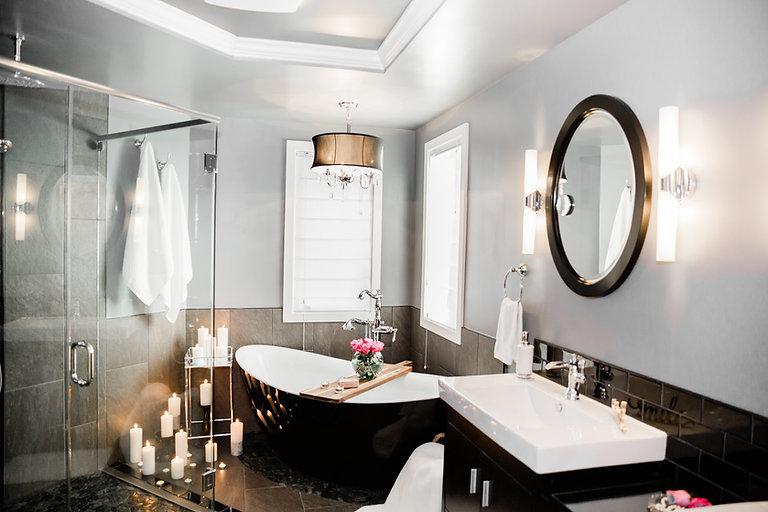 black white grey bathroom modern Amanda George Interior Design