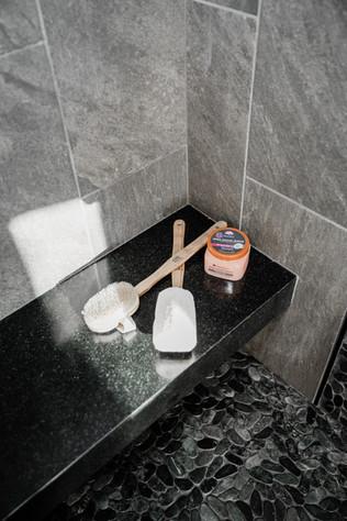 shower bench black and grey tone tile Amanda George Interior Design
