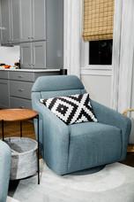 grey white blue chair modern look Amanda George Interior Design