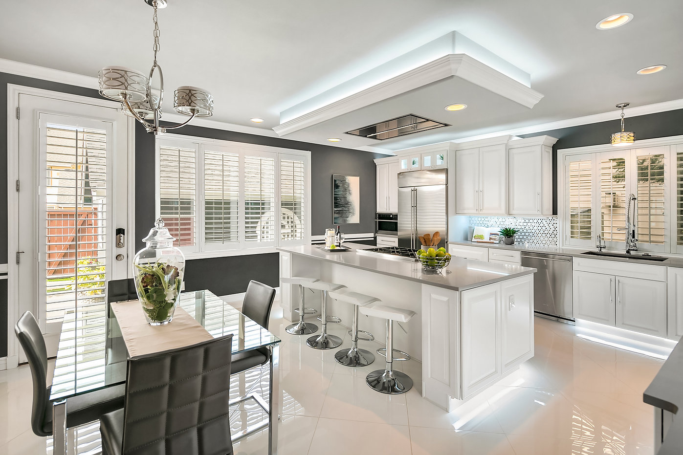 NKBA design winner kitchen modern white and grey Amanda George Interior Design