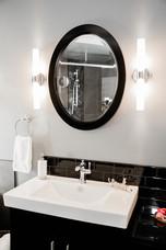 vanity and sink modern black and white Amanda George Interior Design