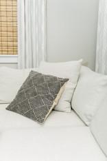 living space remodel white black modern Amanda George Interior Design details