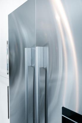 royal blue white modern kitchen remodel Amanda George Interior Design fridge detail