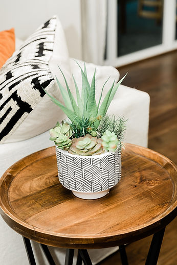 chevron green succulent wood tableside Amanda George Interior Design