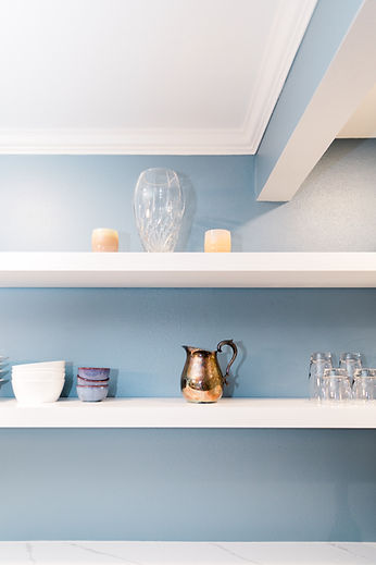 white and blue kitchen clean Amanda George Interior Design