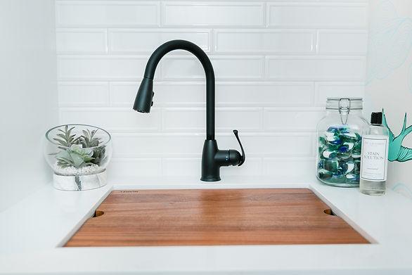 black sink white bathroom tile Amanda George Interior Design