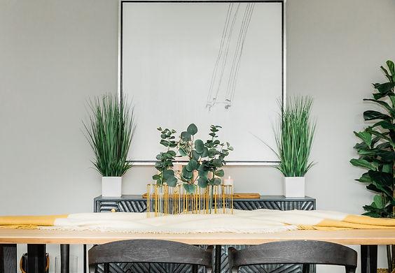 grey and yellow modern plant dining room Amanda George Interior Design
