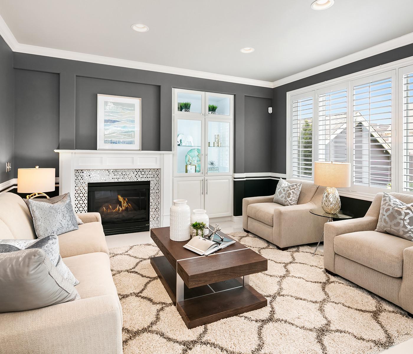 white and black fireplace Amanda George Interior Design