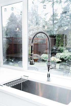 royal blue white modern kitchen remodel Amanda George Interior Design